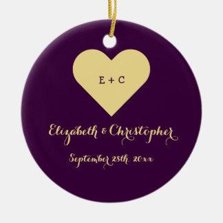 Custom Wedding Newlywed Monogram Heart Anniversary Ceramic Ornament