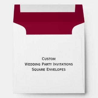 Custom Wedding Party Invitations Square Envelopes