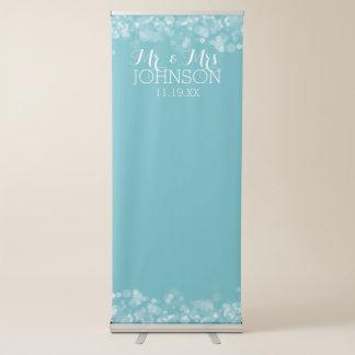 Custom Wedding Photo Backdrop Mr & Mrs Blue Bokeh Retractable Banner