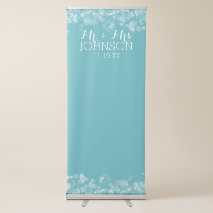 Custom Wedding Photo Backdrop Mr Mrs Blue Bokeh Retractable Banner Zazzle Com