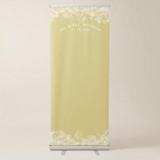 Custom Wedding Photo Backdrop Mr & Mrs Gold Bokeh Retractable Banner