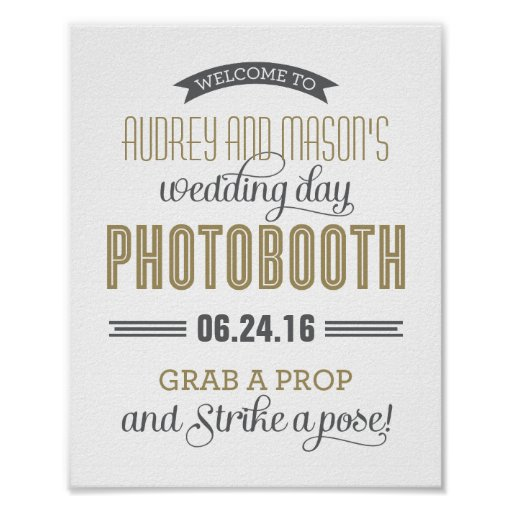 Custom Wedding Photo Booth Sign | Antique Gold Poster