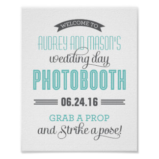 Custom Wedding Photo Booth Sign | Aqua Blue Gray