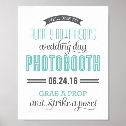 Custom Wedding Photo Booth Sign | Aqua Blue Gray Print