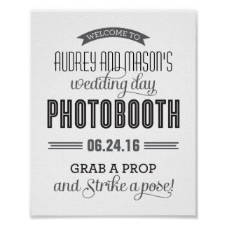 Custom Wedding Photo Booth Sign | Black and White