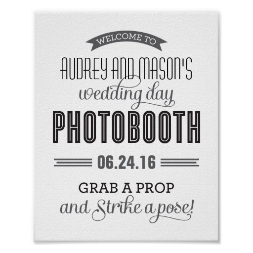Custom Wedding Photo Booth Sign | Black and White Print