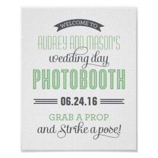 Custom Wedding Photo Booth Sign | Mint Green Gray