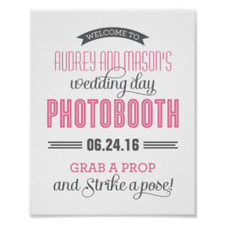 Custom Wedding Photo Booth Sign | Pink and Gray