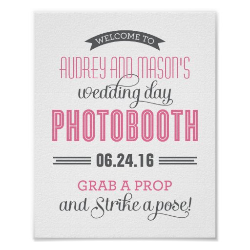 Custom Wedding Photo Booth Sign | Pink and Gray Poster