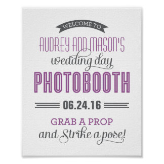 Custom Wedding Photo Booth Sign | Purple Gray Poster