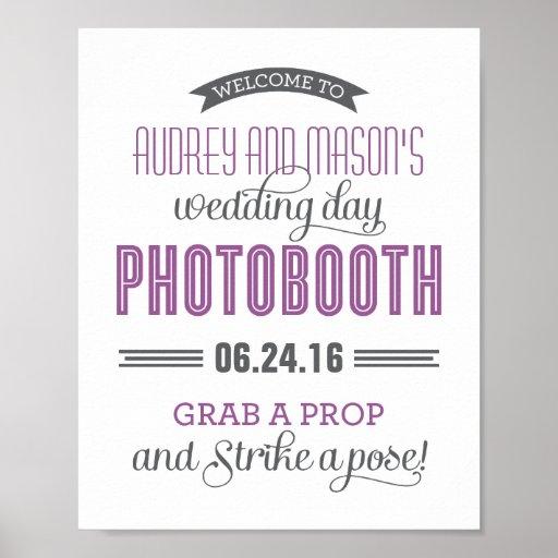 Custom Wedding Photo Booth Sign | Purple Gray Print