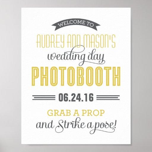 Custom Wedding Photo Booth Sign | Yellow Gray Poster