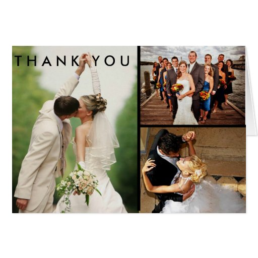custom wedding photo collage thank you card zazzle