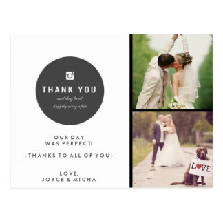 Custom Wedding Photo Collage Thank You Postcard