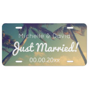 Custom Wedding Photo Just Married License Plate at Zazzle