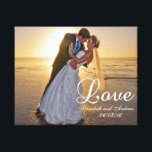"Custom Wedding Photo Love Name Canvas Print<br><div class=""desc"">Custom Wedding Photo Love Name Wrapped Canvas Print. The perfect wedding photo is a treasured memento of a happy couple&#39;s big day. Your wedding photo make this a perfect way to remember your amazing wedding day.Take your special wedding day photograph and place it on this wrapped stretched canvas to turn...</div>"