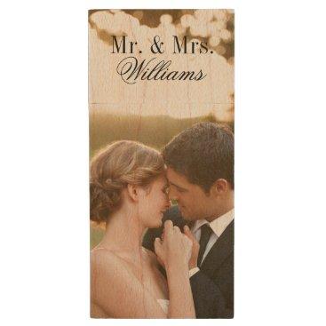 jenniferstuartdesign Custom Wedding Photo Monogram USB Flash Drive