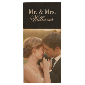 Custom Wedding Photo Monogram USB Flash Drive Wood USB 2.0 Flash Drive
