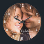 """Custom Wedding Photo Personalized Large Clock<br><div class=""""desc"""">Create your own romantic wedding anniversary reminder with this beautiful clock. Edit the names and anniversary date with your own details and upload your favorite couple photo. This photo is for demonstration purposes only. Custom Wedding Photo Personalized Large Clock.</div>"""