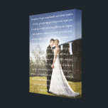 "Custom Wedding Photo &amp; Vows Canvas Print<br><div class=""desc"">Creative wedding vow keepsake features your wedding vows in white handwritten script lettering, overlaid on a favorite wedding photo. Paste your wedding vows into the template field, then click to &quot;customize further&quot; where you can adjust fonts and sizes. Chic wrapped canvas makes a unique and creative wall art gift for...</div>"