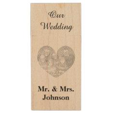 Custom wedding photo wood USB flash drive keepsake at Zazzle