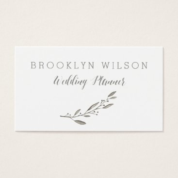 Professional Business Custom Wedding Planner Business Cards Grey Floral