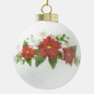 Custom Wedding Poinsettia Ceramic Ball Ornament
