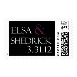 Custom wedding postage black, white & fuschia