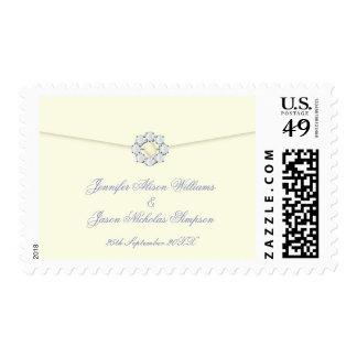 Custom Wedding Postage Ivory with Pearl & Diamond