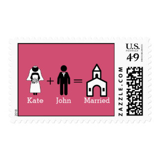 Custom Wedding Postage with Black and White Icons