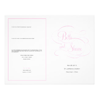 Custom Wedding Program - Pink Personalized Flyer