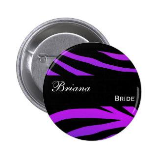 Custom Wedding Role Purple and Black Tiger Print 2 Inch Round Button
