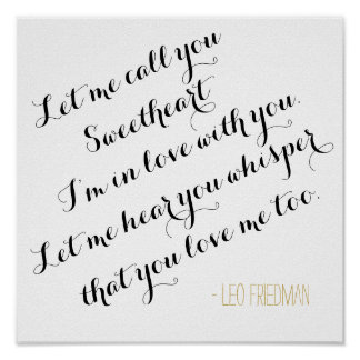 Custom wedding song lyrics add your own quote gold poster