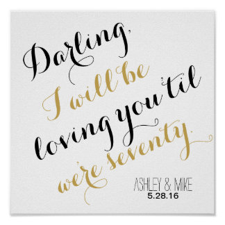 Custom wedding song quote gold add your own lyrics poster