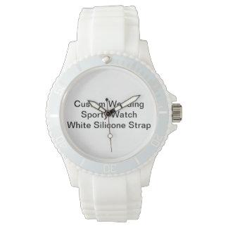Custom Wedding Sporty Watch  White Silicone Strap
