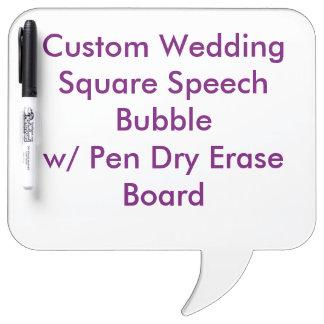 Custom Wedding Square SpeechBubble Dry Erase Board