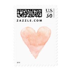 Custom Wedding Stamps With Coral Watercolor Heart at Zazzle