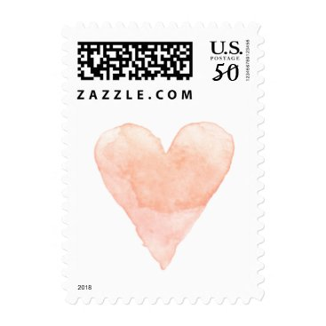 Valentines Themed Custom wedding stamps with coral watercolor heart