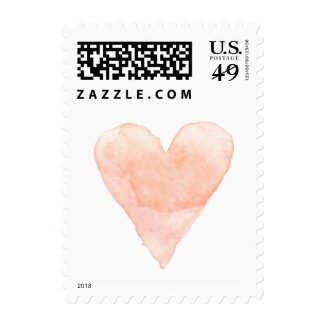 Custom wedding postage stamps with coral watercolor heart at UniqueRusticWeddingInvitations.com