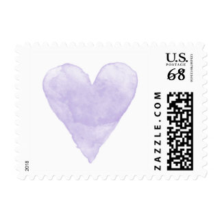 Custom wedding stamps with purple watercolor heart