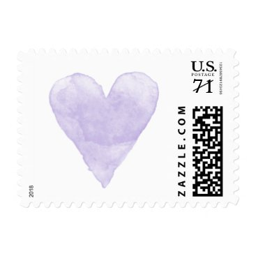 Valentines Themed Custom wedding stamps with purple watercolor heart