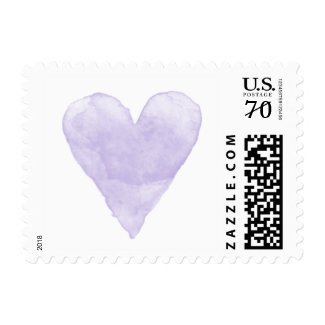 Custom wedding postage stamps with purple watercolor heart at UniqueRusticWeddingInvitations.com