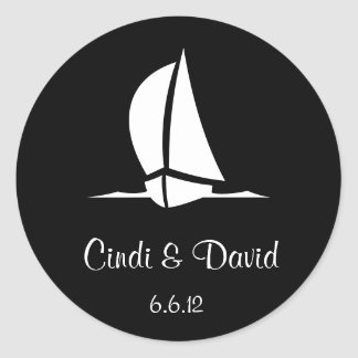 Custom Wedding Sticker Sailboat