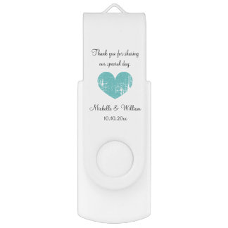 Custom wedding thank you party favor USB drive