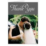 Custom Wedding Thank You Photo Cards Message Grey