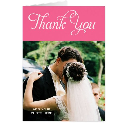 custom wedding thank you photo cards message pink zazzle