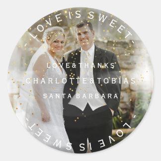 Custom Wedding Thanks Golden Confetti Photo Classic Round Sticker