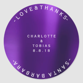 Custom Wedding Thanks Minimal Purple Plum Classic Round Sticker