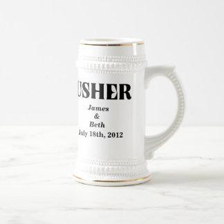Custom Wedding Usher Beer Stein Mugs