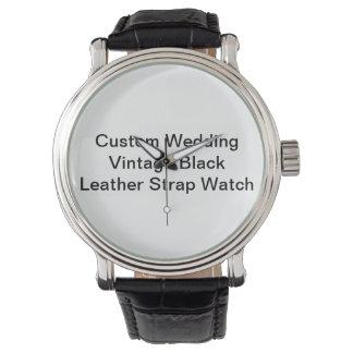 Custom Wedding Vintage Black  Leather Strap Watch